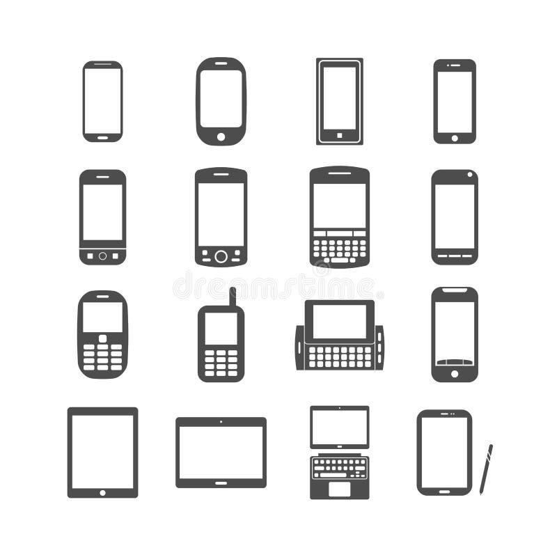 Умный комплект значка телефона и таблетки, вектор eps10 бесплатная иллюстрация