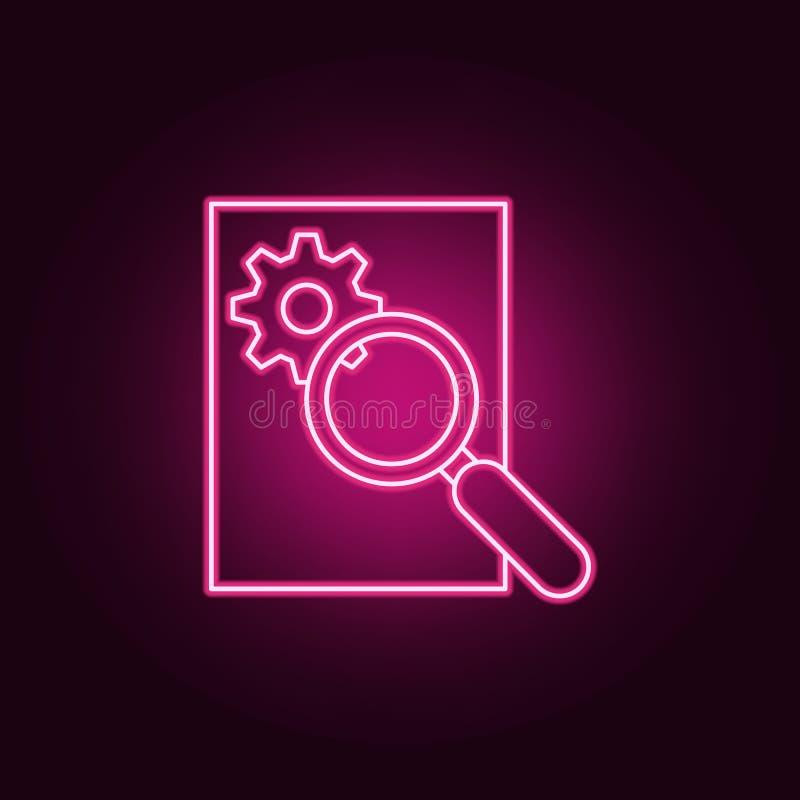 Умный поиск, значок маркетинга интернета Элементы искусственного в неоновых значках стиля Простой значок для вебсайтов, веб-дизай иллюстрация штока