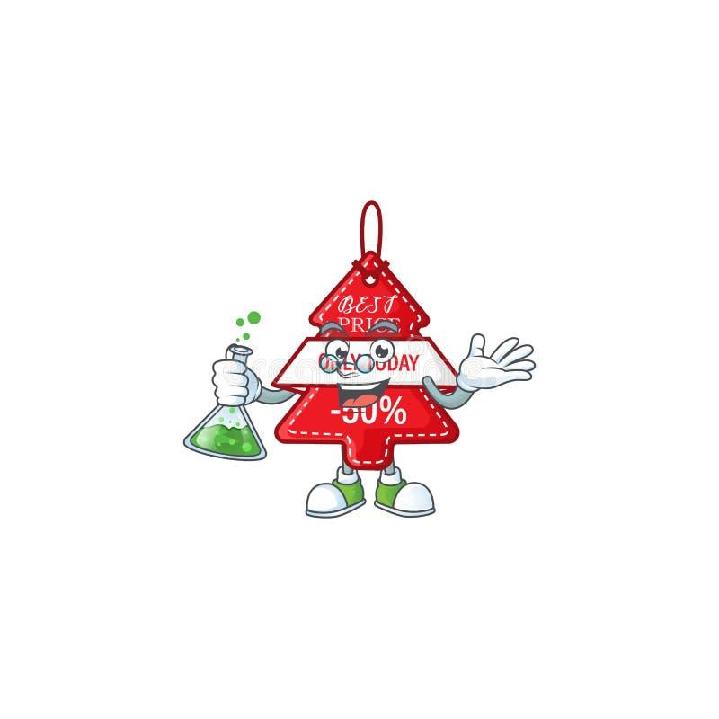 Умный профессор christmas лучший ценник мультипликационный персонаж держащий стеклянную трубку иллюстрация штока