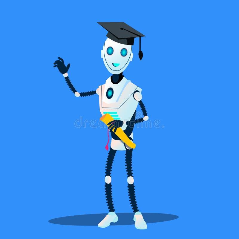 Умный робот в постдипломных крышке и дипломе в векторе рук изолированная иллюстрация руки кнопки нажимающ женщину старта s бесплатная иллюстрация