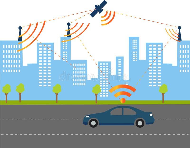 Умный сигнал автомобиля иллюстрация вектора