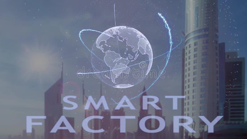 Умный текст фабрики с hologram 3d земли планеты против фона современной метрополии бесплатная иллюстрация