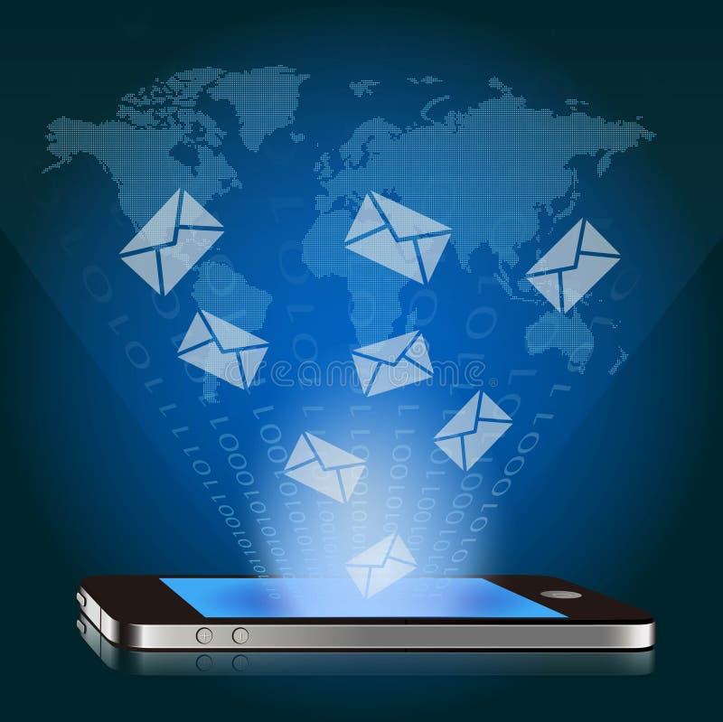 Умный телефон с глобальной электронной почтой иллюстрация штока