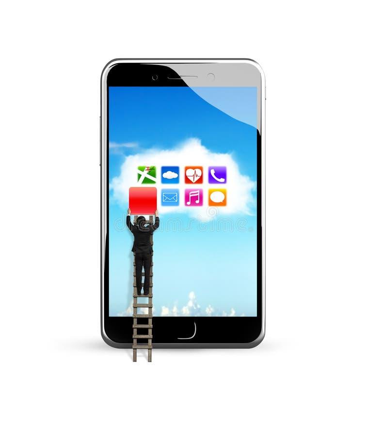 Умный телефон с красочными apps на белом применении облака стоковое фото