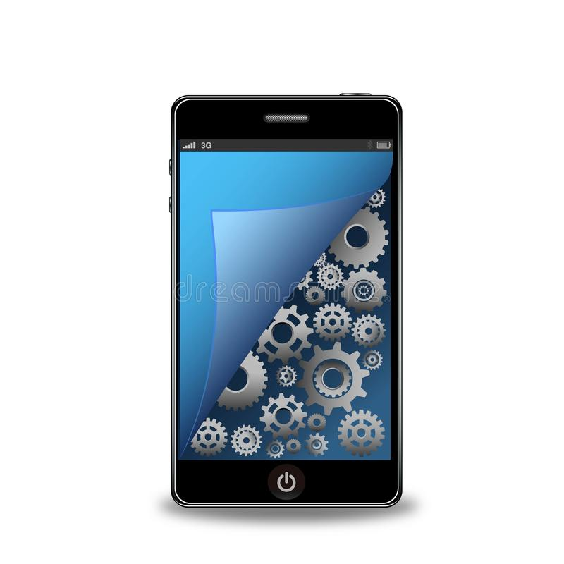 Умный телефон с шестернями бесплатная иллюстрация