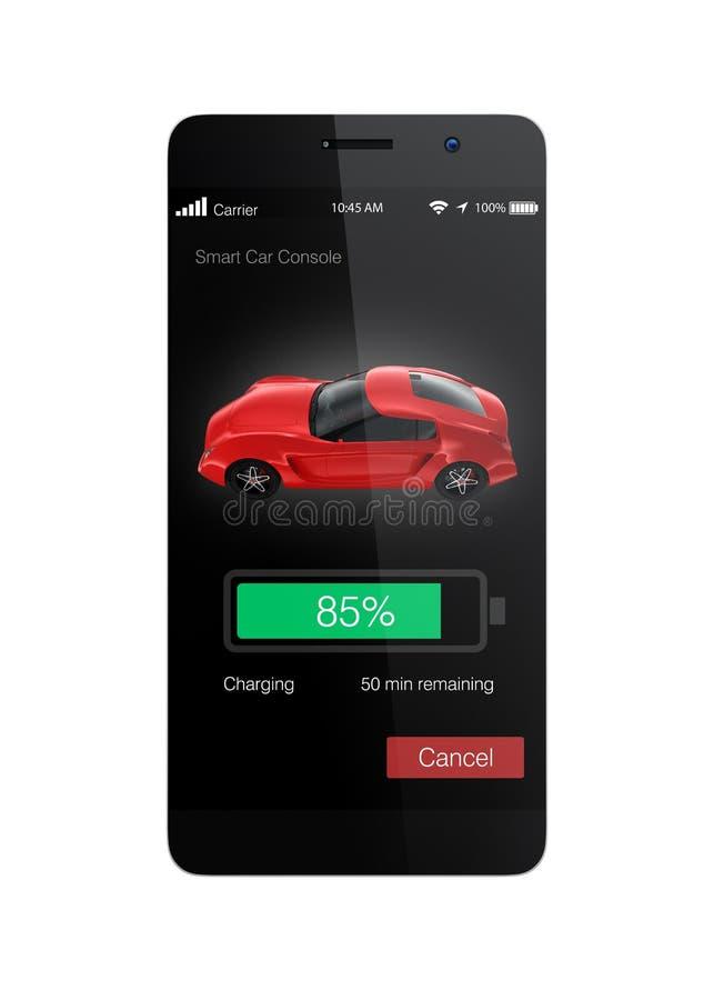 Умный телефон app для контролировать положение электрического автомобиля поручая стоковые фото