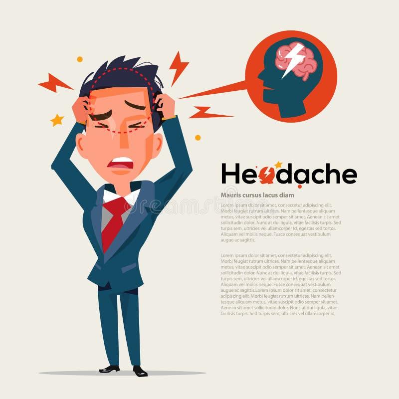 Умный человек получает головную боль - концепция здравоохранения и мигрени - vecto иллюстрация штока