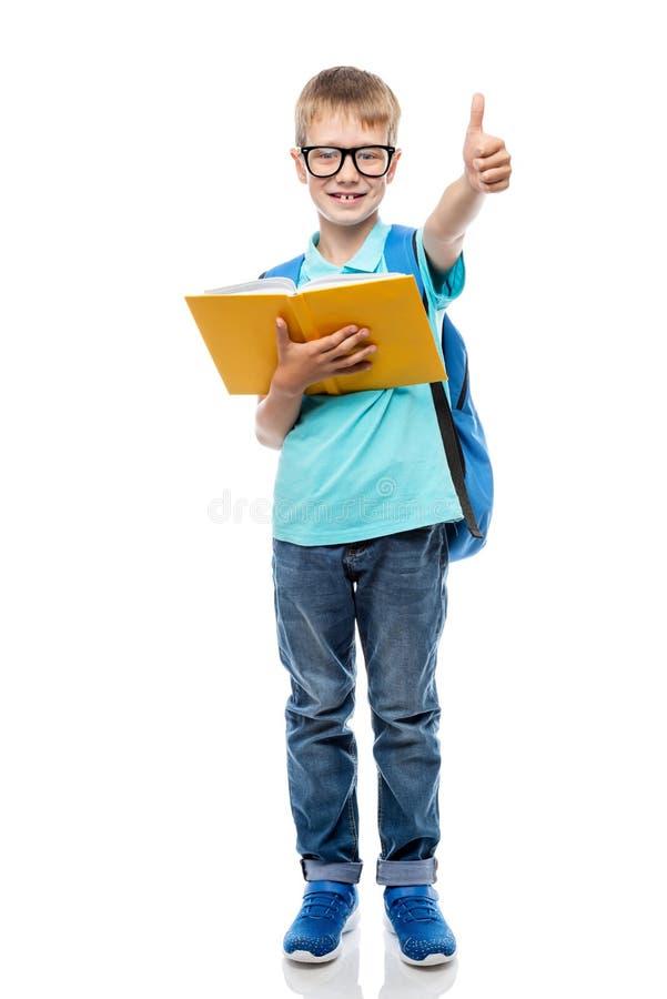 Умный школьник с стеклами с книгой на белой предпосылке стоковые изображения