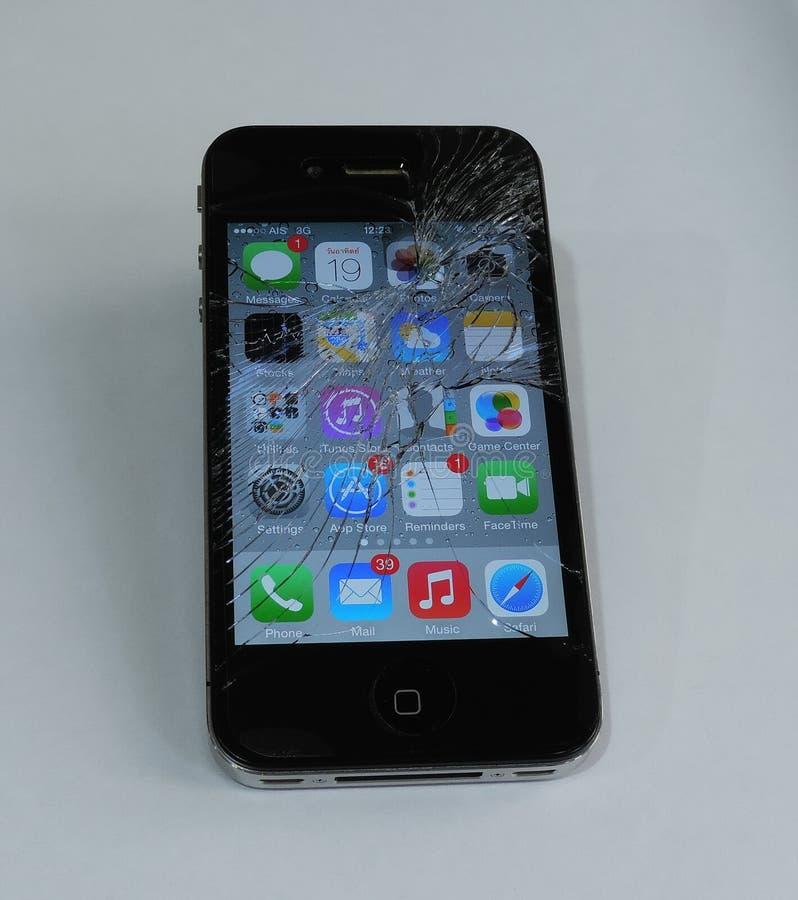Умный экран телефона был треснут стоковое изображение