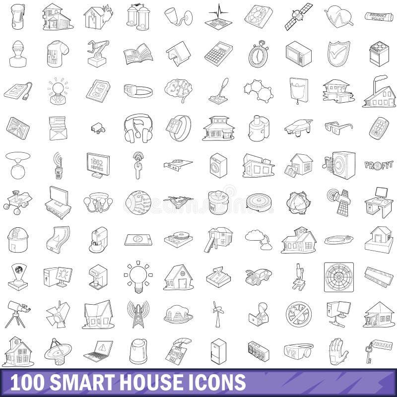 100 умных установленных значков, стиль дома плана иллюстрация вектора