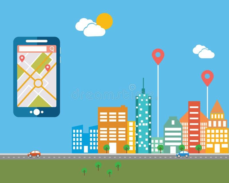 Умн-телефон с передвижной навигацией Значки иллюстрации вектора плоского дизайна современные установили городского ландшафта и го иллюстрация вектора