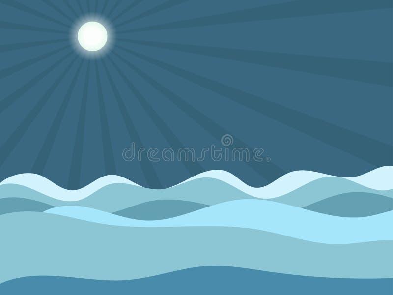 луна под волнами вектор бесплатная иллюстрация
