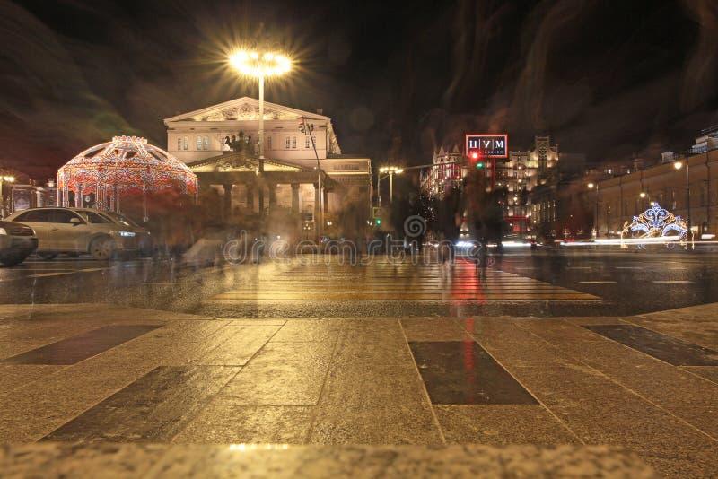 Универмаг театра TSUM Bolshoy в Москве к ноча на сезоне рождества стоковая фотография rf