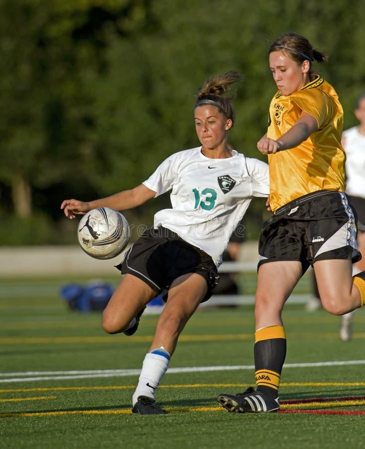университетская спортивная команда футбола девушок стоковая фотография