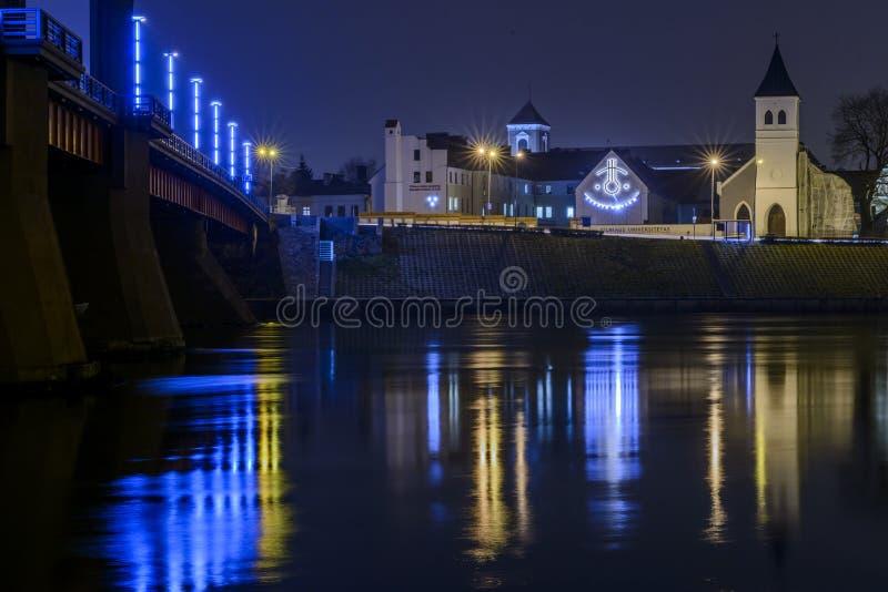 Университет Каунаса Вильнюса на ноче стоковые фото