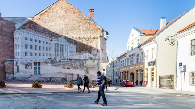 Университет Streetart Tartu Эстонии стоковое фото rf