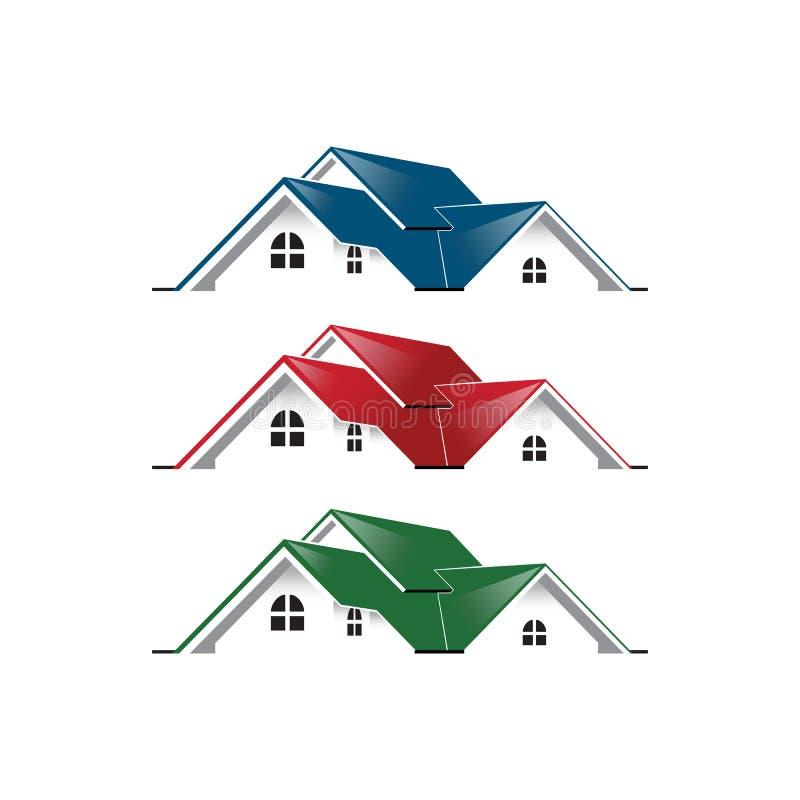 Уникальное графического дома логотипа недвижимости простое голубой красный зеленый цвет иллюстрация вектора