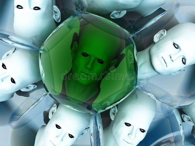 Уникально головка 2 пузыря иллюстрация штока
