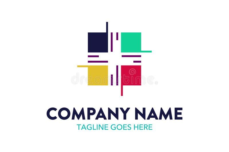 Уникально и первоначально шаблон логотипа компьютера и сети иллюстрация штока