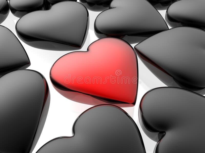 уникально сердца красное иллюстрация штока