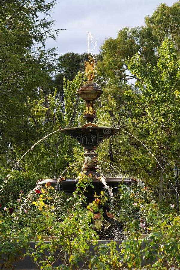Уникально сногсшибательный tiered высекаенный фонтан в ботанических розариях Wagga стоковые изображения