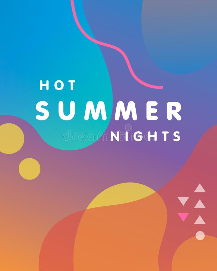 Уникально художническая карточка дизайна - горячие ночи лета иллюстрация штока