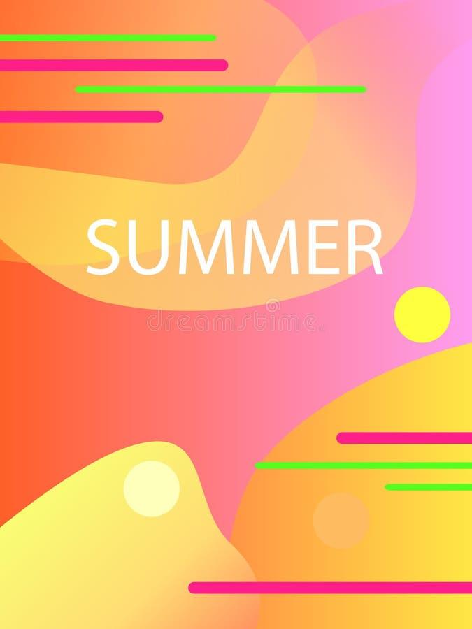 Уникально художнические карточки лета с яркими предпосылкой, формами и геометрическими элементами градиента в стиле Мемфиса Абстр иллюстрация штока