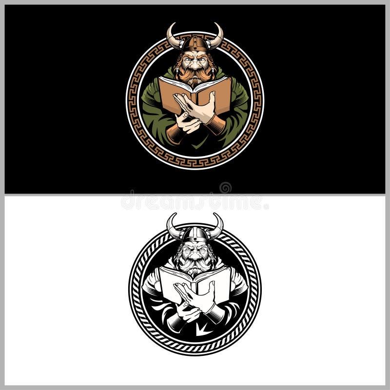 Уникальный воин Викинга читая шаблон логотипа вектора книги иллюстрация штока