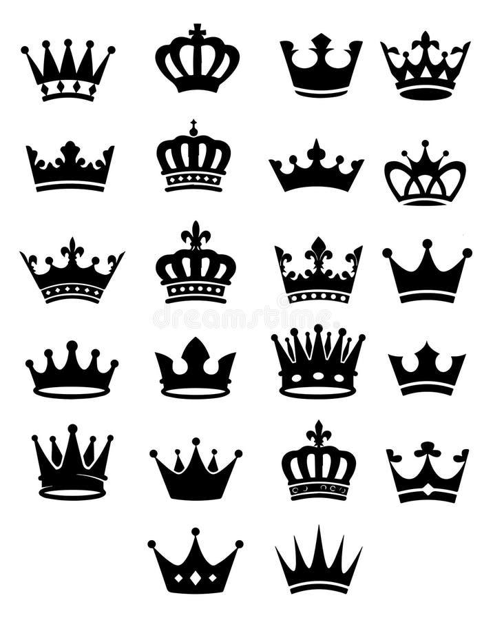 22 уникальных королевских черных кроны в различных формах иллюстрация вектора
