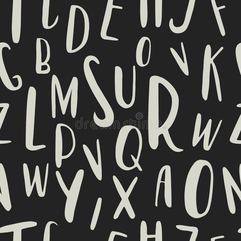 Уникально нарисованная рукой картина латинского алфавита безшовная Милые письма размера ABC различные нарисованные вручную иллюстрация вектора