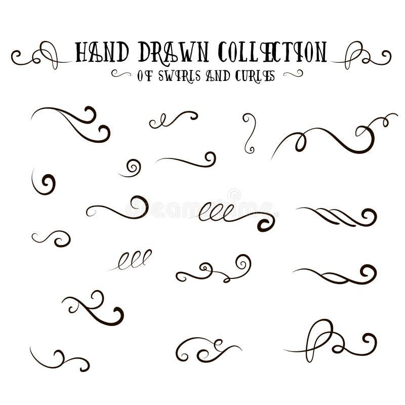 Уникально собрание handdrawn свирлей и curles иллюстрация штока