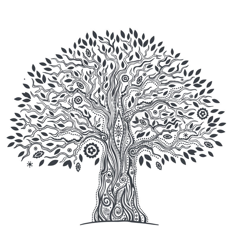 Уникально этническое дерево жизни иллюстрация вектора
