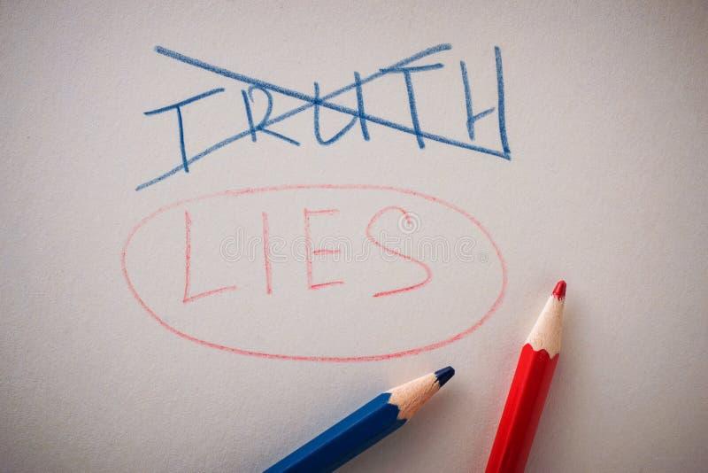 Уничтоженная правда слова и подчеркиванные лож слова стоковые фотографии rf