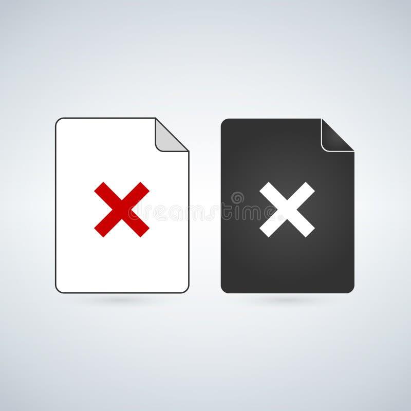 Уничтожьте или извлеките значок вектора фаил документа Плоский знак для передвижных концепции и веб-дизайна Значок doc бумаги про бесплатная иллюстрация