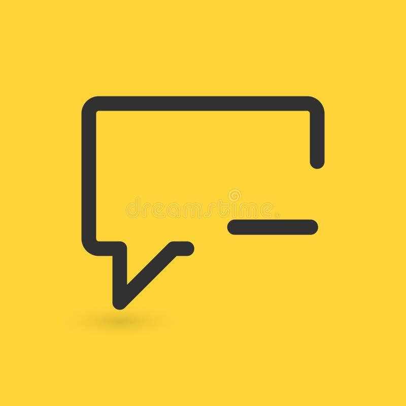 Уничтожьте комментарий или побеседуйте плоский значок, иллюстрация вектора изолированная на желтой предпосылке иллюстрация вектора