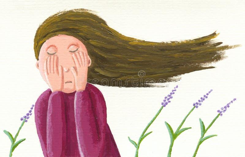 Унылая девушка иллюстрация вектора
