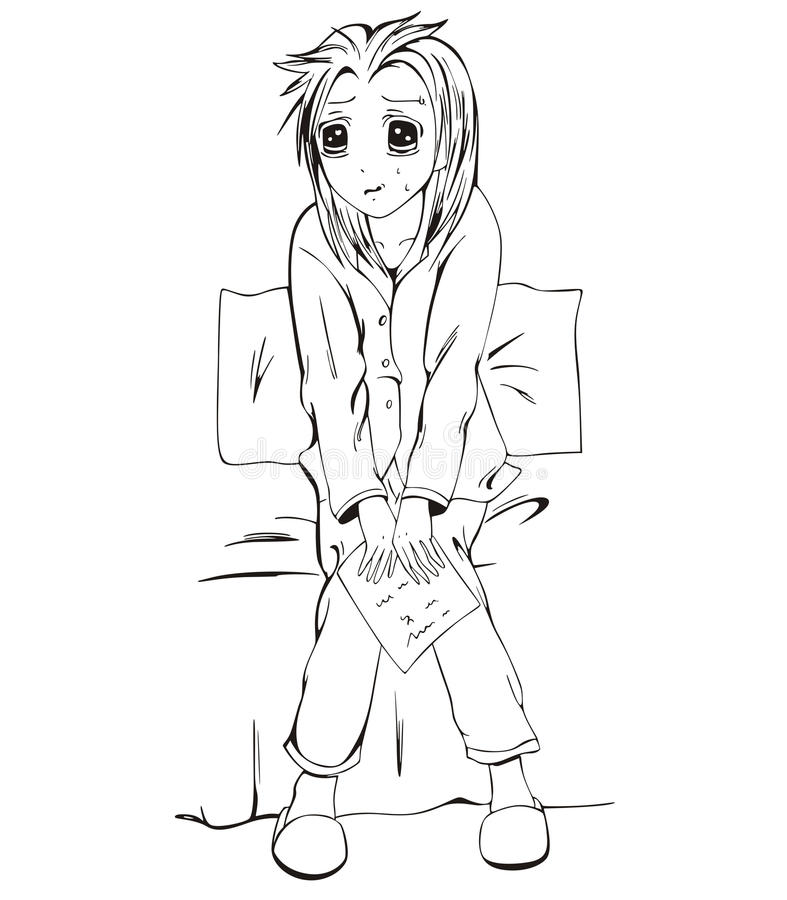 Унылая девушка anime с письмом иллюстрация штока