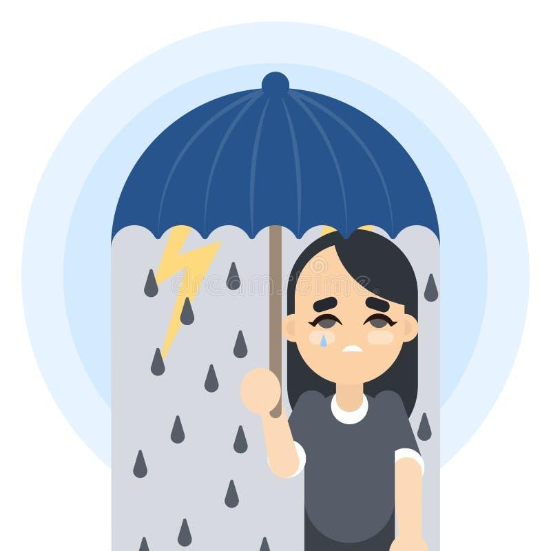 унылая женщина зонтика иллюстрация штока