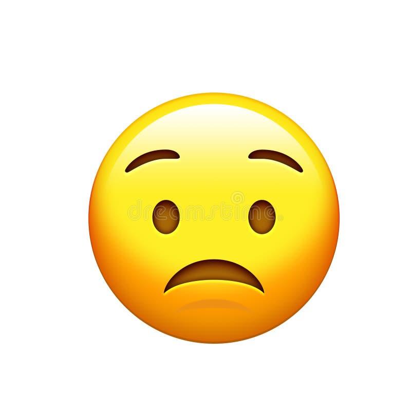Унылая Emoji желтая, расстроенная сторона с значком хмурого взгляда иллюстрация вектора