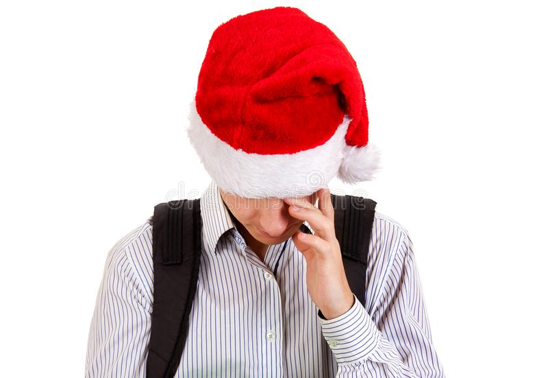 Унылое предназначенное для подростков в шляпе Санты стоковые изображения rf