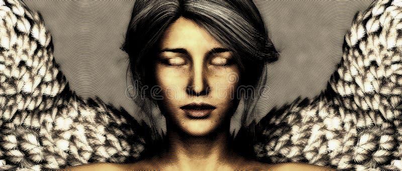 Унылый ангел с крылами бесплатная иллюстрация