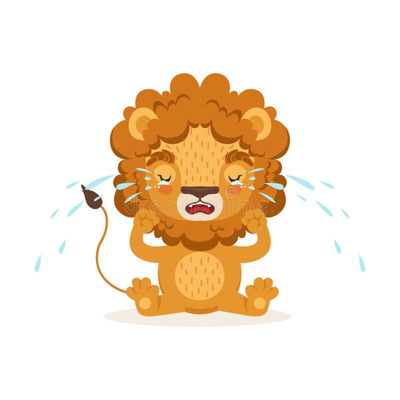 Унылый маленький персонаж из мультфильма льва младенца сидя на поле и плакать Животное сафари с сочной гривой плачет Вектор внутр бесплатная иллюстрация