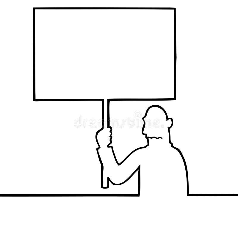 Унылый человек держа знак протеста иллюстрация вектора