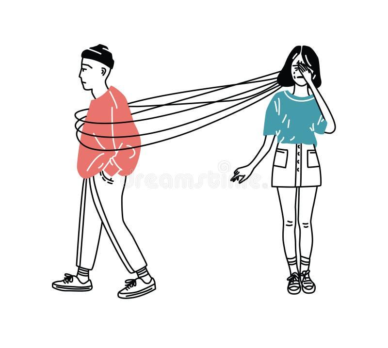 Унылая и страдая потеря девушки влюбленности концепция наркомании влюбленности Parting пары Девушка и думает о парне, lineart иллюстрация вектора