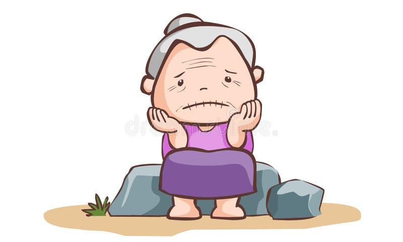 Унылая пожилая женщина сидит на камне иллюстрация штока