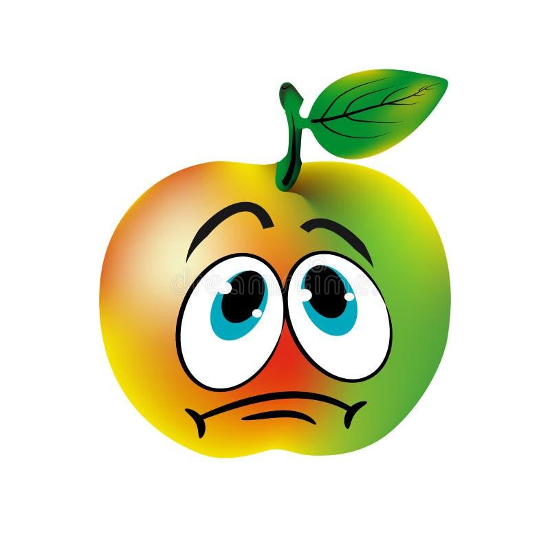 Унылое зеленое яблоко, карикатура на белой предпосылке иллюстрация штока