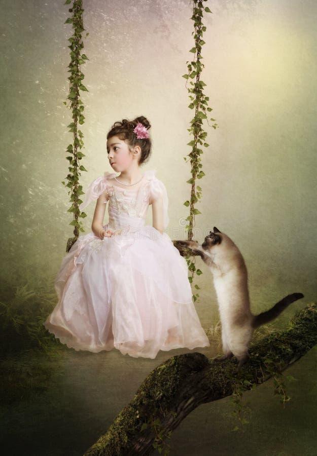 Унылые принцесса и кот стоковое фото rf