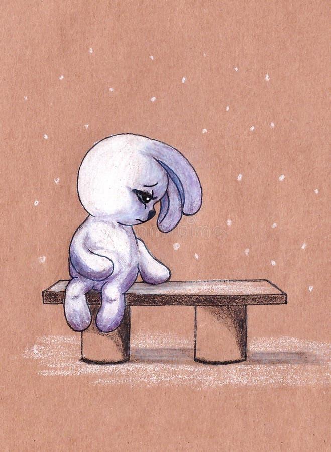 Картинка зайка на скамейке