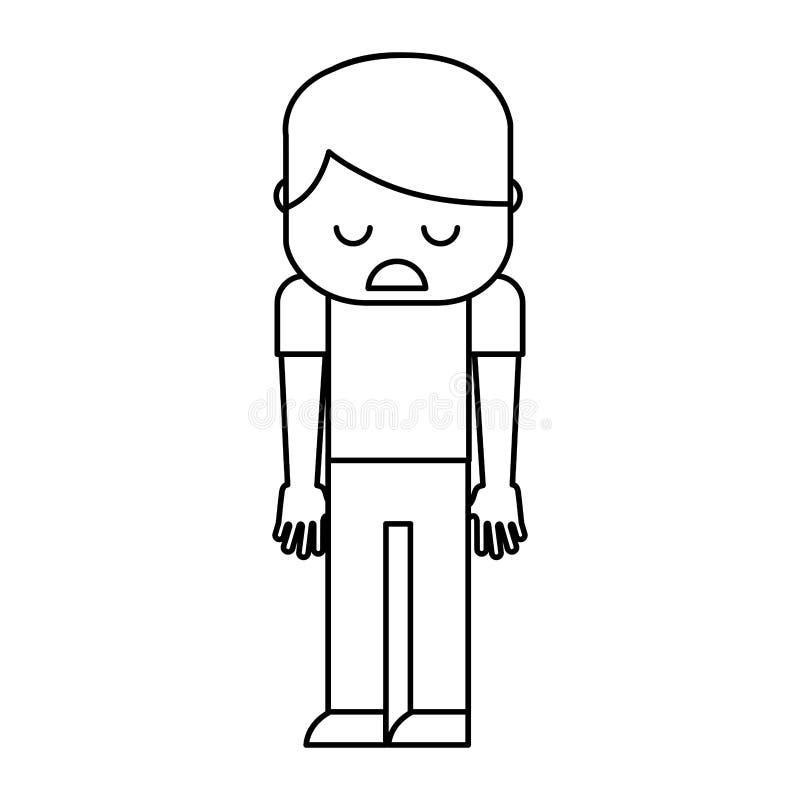 Унылый и усиленный человек бесплатная иллюстрация