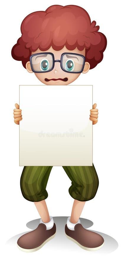 Унылый мальчик держа пустой signage иллюстрация вектора